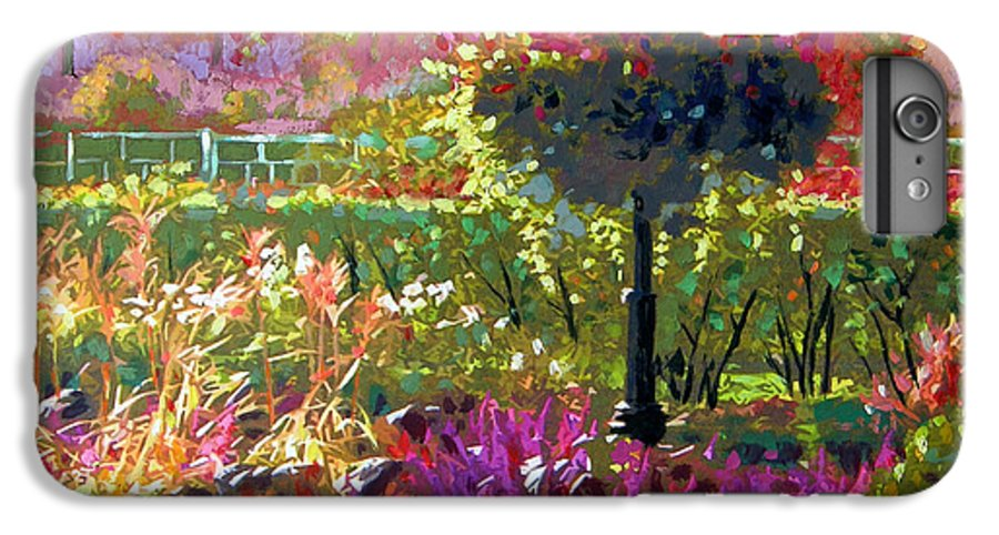 Landscape IPhone 7 Plus Case featuring the painting Gas Light In The Garden by John Lautermilch