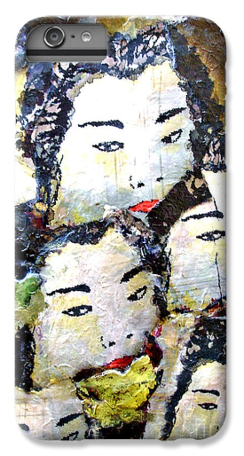 Geisha Girls IPhone 7 Plus Case featuring the mixed media Geisha Girls by Shelley Jones