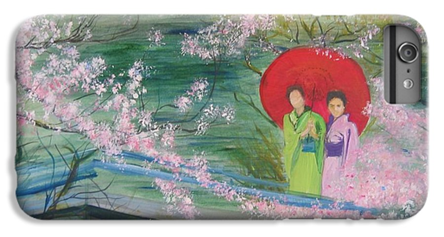 Landscape IPhone 7 Plus Case featuring the painting Geishas And Cherry Blossom by Lizzy Forrester