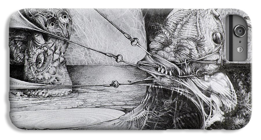 Surrealism IPhone 7 Plus Case featuring the drawing General Peckerwood In Purgatory by Otto Rapp