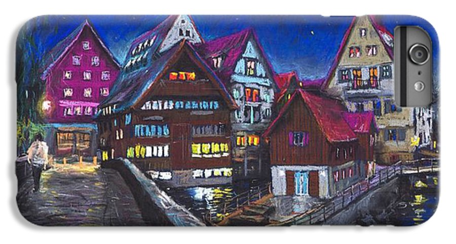 Pastel IPhone 7 Plus Case featuring the painting Germany Ulm Fischer Viertel by Yuriy Shevchuk