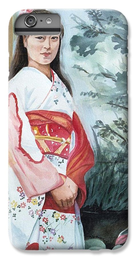 Japanese Girl In Kimono IPhone 7 Plus Case featuring the painting Girl In Kimono by Judy Swerlick
