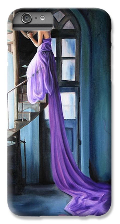Girl IPhone 7 Plus Case featuring the painting Girl On Staircase by Maryn Crawford