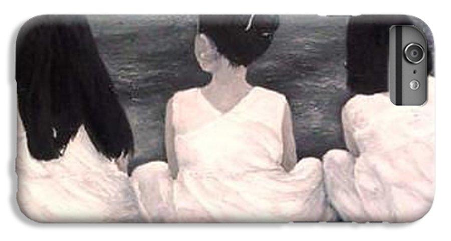 Girls IPhone 7 Plus Case featuring the painting Girls In White At The Beach by Patricia Awapara