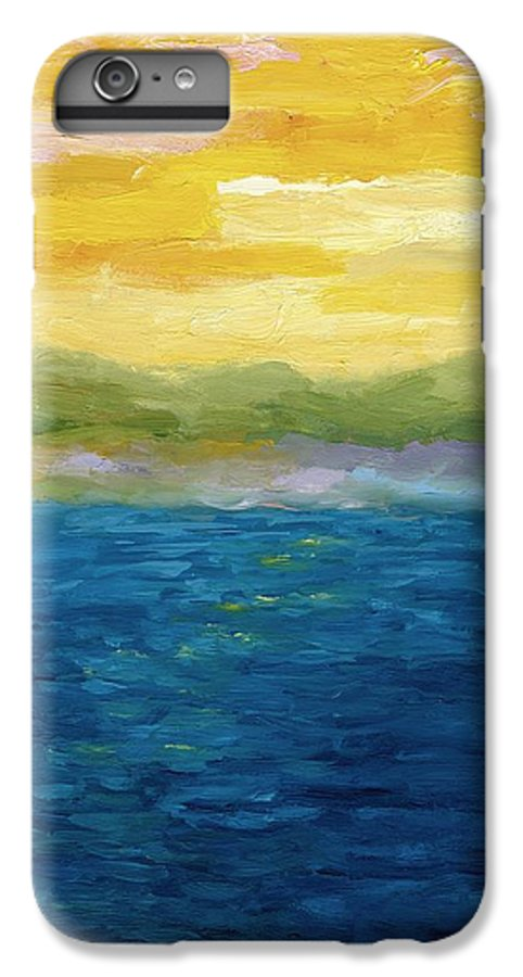 Lake IPhone 7 Plus Case featuring the painting Gold And Pink Sunset by Michelle Calkins