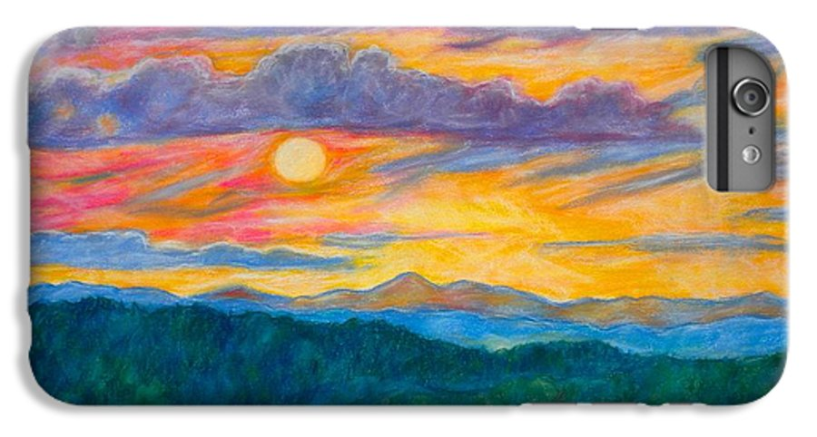 Landscape IPhone 7 Plus Case featuring the painting Golden Blue Ridge Sunset by Kendall Kessler