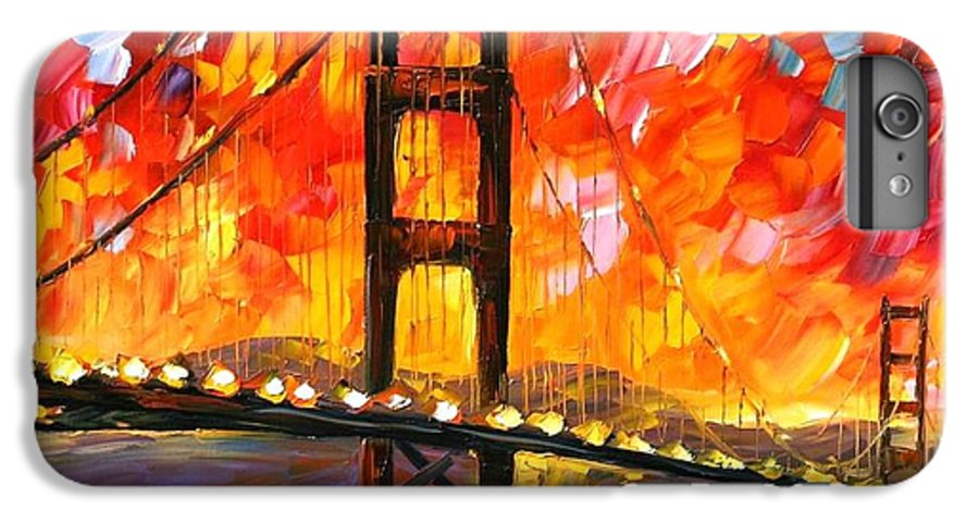 City IPhone 7 Plus Case featuring the painting Golden Gate Bridge by Leonid Afremov