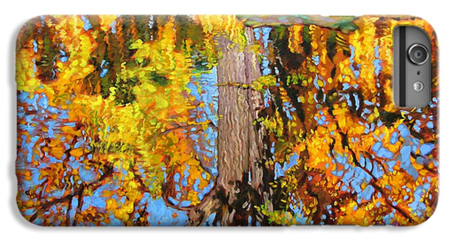 Landscape IPhone 7 Plus Case featuring the painting Golden Reflections On Lily Pond by John Lautermilch