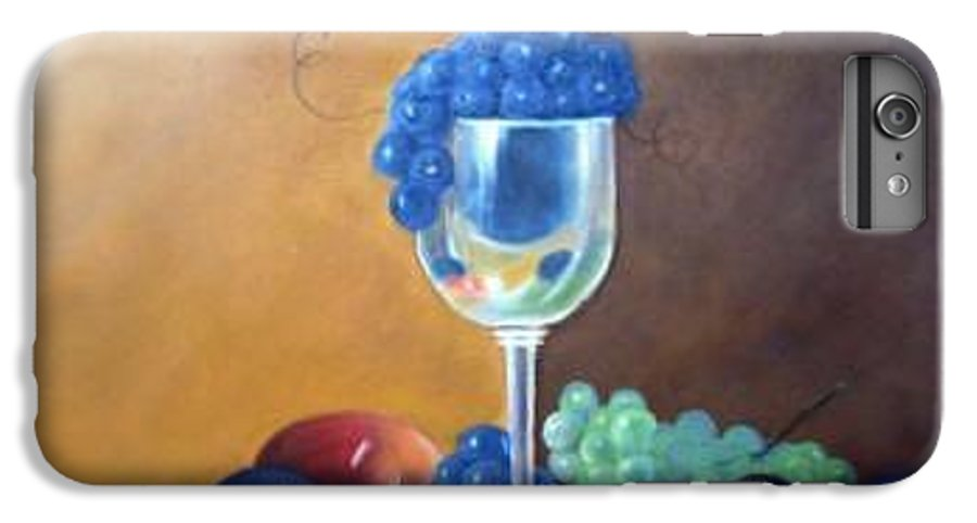 Wine Galsses With Grapes IPhone 7 Plus Case featuring the painting Grapes And Plums by Susan Dehlinger