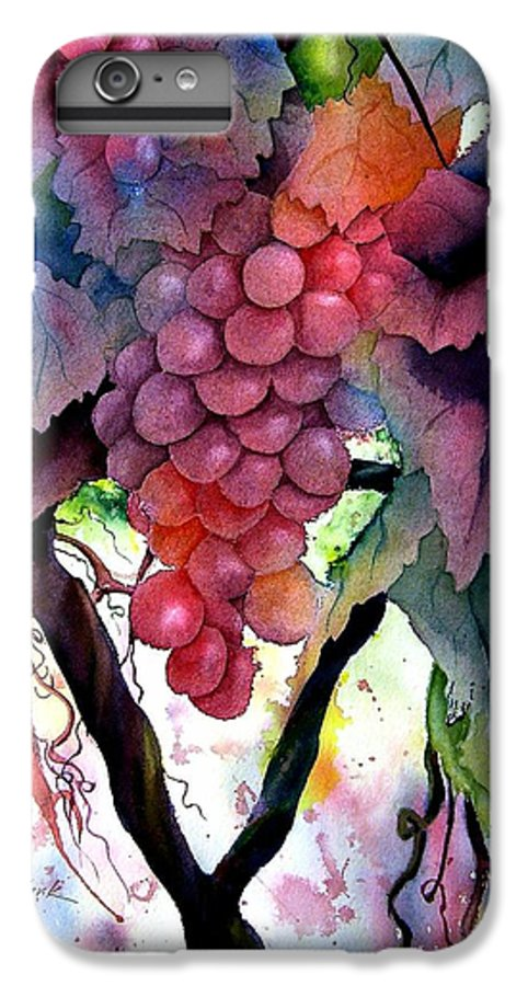 Grape IPhone 7 Plus Case featuring the painting Grapes IIi by Karen Stark
