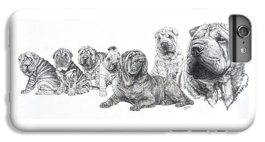 Dog IPhone 7 Plus Case featuring the drawing Growing Up Chinese Shar-pei by Barbara Keith