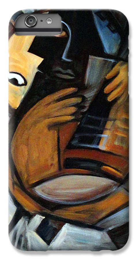 Cubism IPhone 7 Plus Case featuring the painting Guitarist by Valerie Vescovi