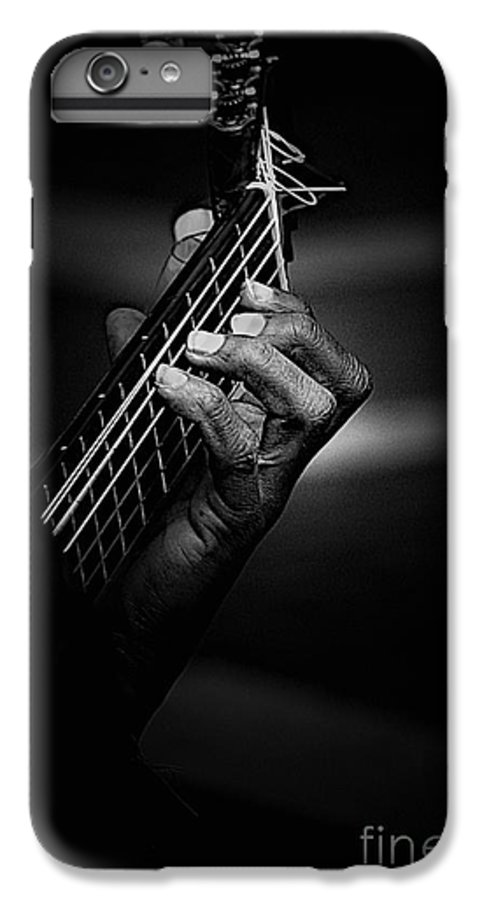 Guitar IPhone 7 Plus Case featuring the photograph Hand Of A Guitarist In Monochrome by Sheila Smart Fine Art Photography