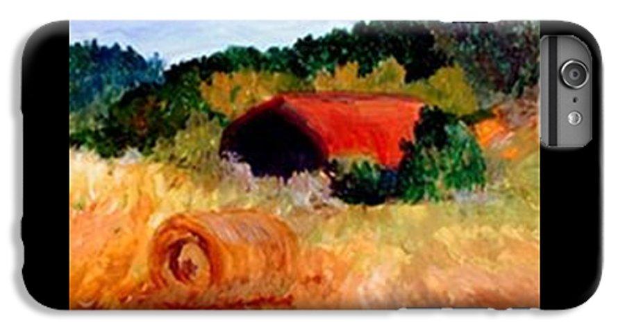 Hayrolls IPhone 7 Plus Case featuring the painting Hayrolls by Gail Kirtz