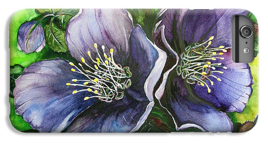 Flower Painting Botanical Painting Original W/c Painting Helleborous Painting IPhone 7 Plus Case featuring the painting Helleborous Blue Lady by Karin Dawn Kelshall- Best