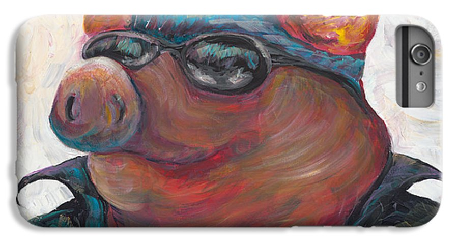 Hog IPhone 7 Plus Case featuring the painting Hogley Davidson by Nadine Rippelmeyer