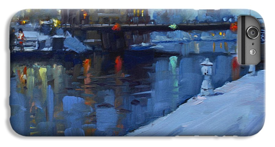 Holiday Lights IPhone 7 Plus Case featuring the painting Holiday Lights In Tonawanda Canal by Ylli Haruni