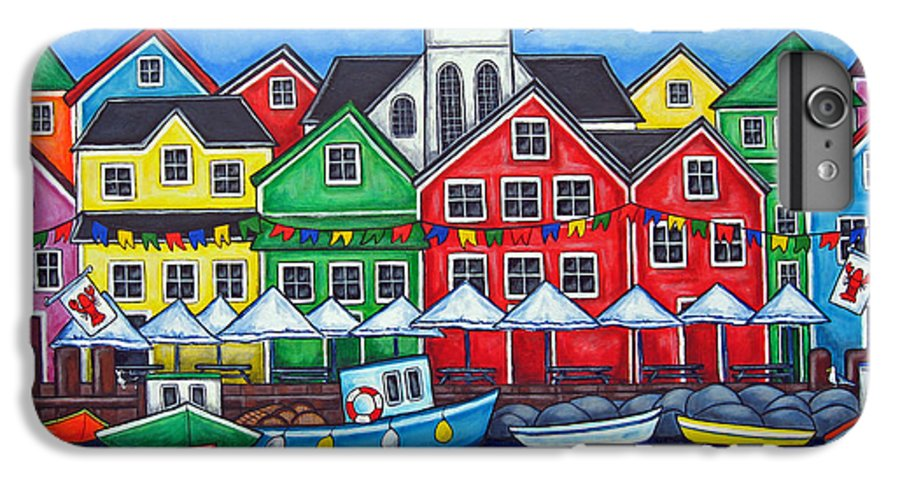 Boats Canada Colorful Docks Festival Fishing Flags Green Harbor Harbour IPhone 7 Plus Case featuring the painting Hometown Festival by Lisa Lorenz