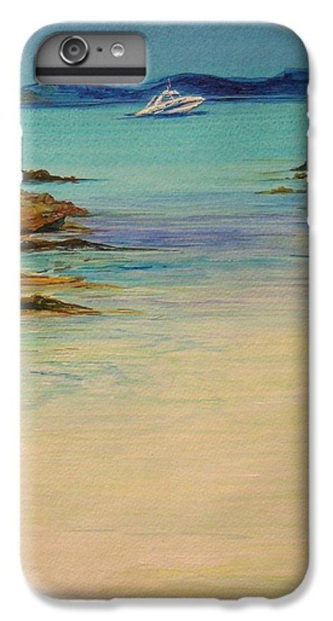 Seascape Original Painting IPhone 7 Plus Case featuring the painting Ibiza In The Distance.... by Lizzy Forrester