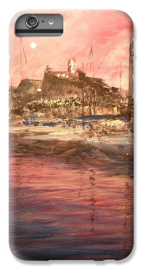 Yachts IPhone 7 Plus Case featuring the painting Ibiza Old Town At Sunset by Lizzy Forrester
