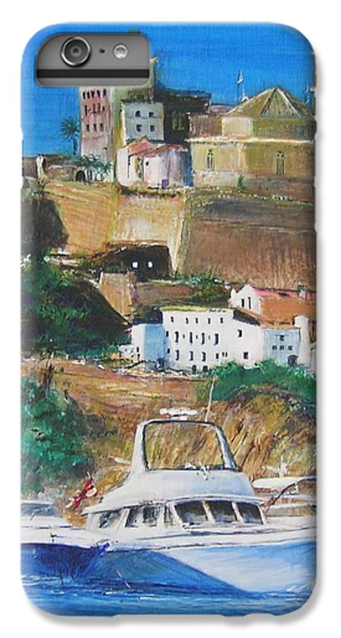 Original Landscape Painting IPhone 7 Plus Case featuring the painting Ibiza Town by Lizzy Forrester