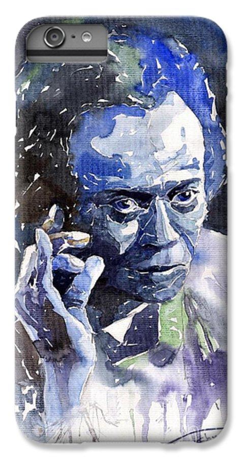 Jazz IPhone 7 Plus Case featuring the painting Jazz Miles Davis 11 Blue by Yuriy Shevchuk