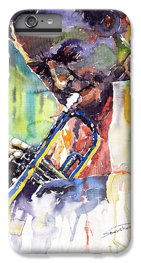 Jazz Miles Davis Music Musiciant Trumpeter Portret IPhone 7 Plus Case featuring the painting Jazz Miles Davis 9 Blue by Yuriy Shevchuk