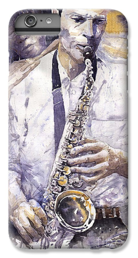 Jazz IPhone 7 Plus Case featuring the painting Jazz Muza Saxophon by Yuriy Shevchuk