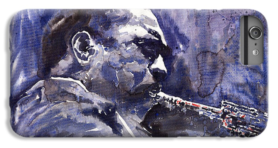 Jazz IPhone 7 Plus Case featuring the painting Jazz Saxophonist John Coltrane 01 by Yuriy Shevchuk