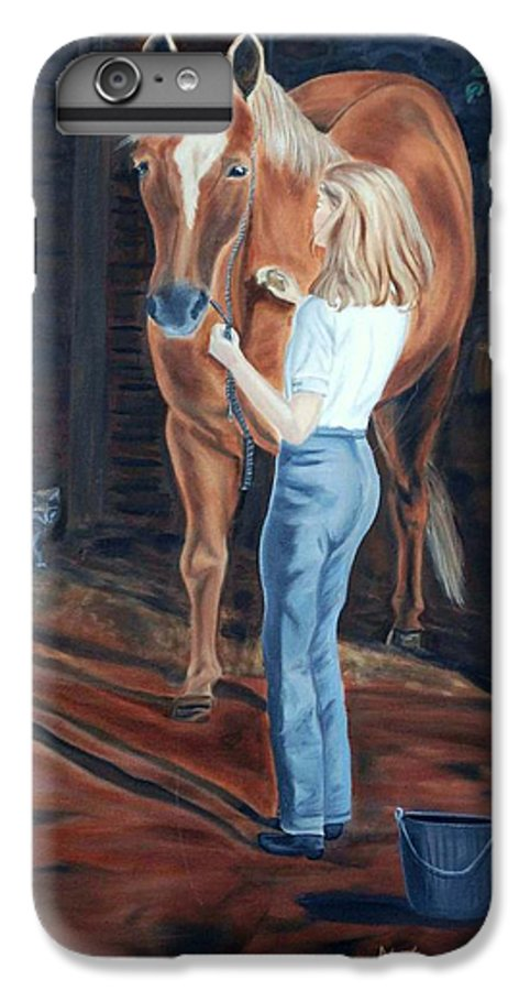 Horse IPhone 7 Plus Case featuring the painting Jessica And Bunnie by Margaret Fortunato