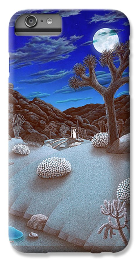 Landscape IPhone 7 Plus Case featuring the painting Joshua Tree At Night by Snake Jagger
