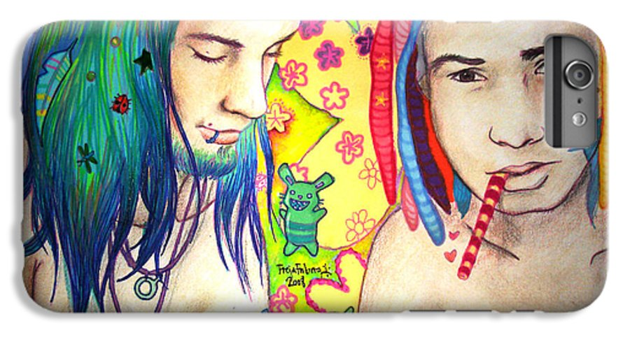 Colours IPhone 7 Plus Case featuring the drawing Kamil And Louis by Freja Friborg