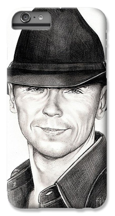 Portrait IPhone 7 Plus Case featuring the drawing Kenny Chesney by Murphy Elliott