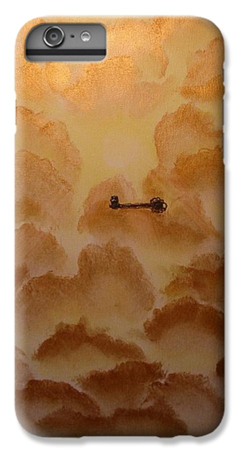 Gold IPhone 7 Plus Case featuring the painting Keys To The Kingdom by Laurie Kidd
