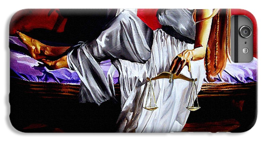 Law IPhone 7 Plus Case featuring the painting Lady Justice by Laura Pierre-Louis