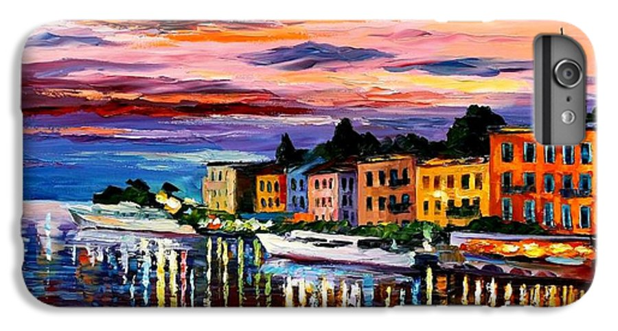 Cityscape IPhone 7 Plus Case featuring the painting Lake Como - Bellagio by Leonid Afremov