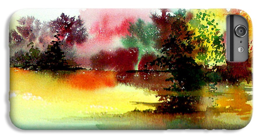 Nature IPhone 7 Plus Case featuring the painting Lake In Colours by Anil Nene