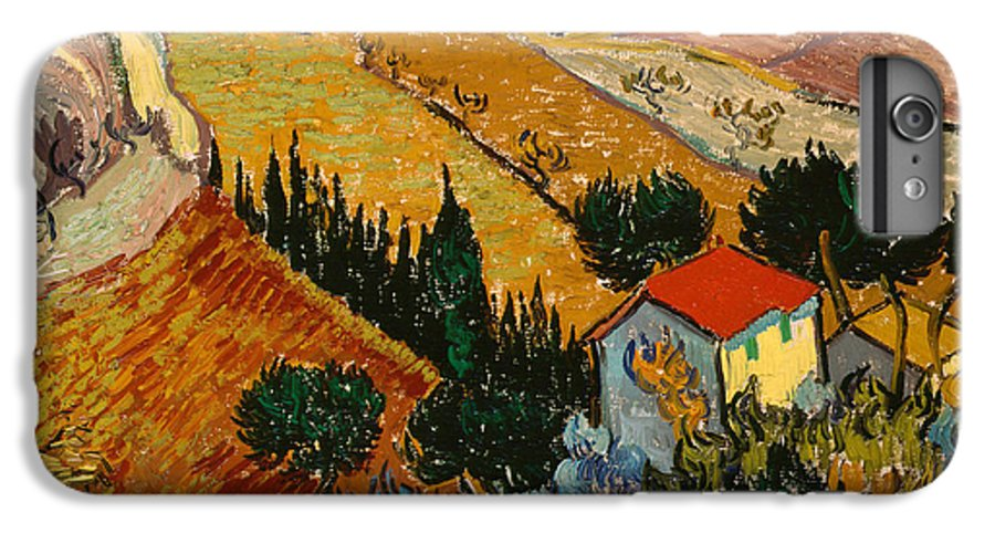 Landscape IPhone 7 Plus Case featuring the painting Landscape With House And Ploughman by Vincent Van Gogh
