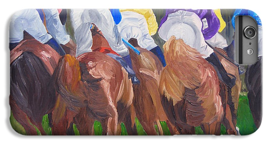 Horse Racing IPhone 7 Plus Case featuring the painting Leading The Pack by Michael Lee