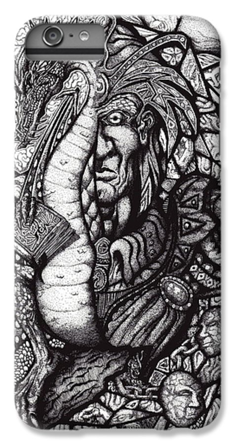 Pen And Ink IPhone 7 Plus Case featuring the drawing Legend by Tobey Anderson