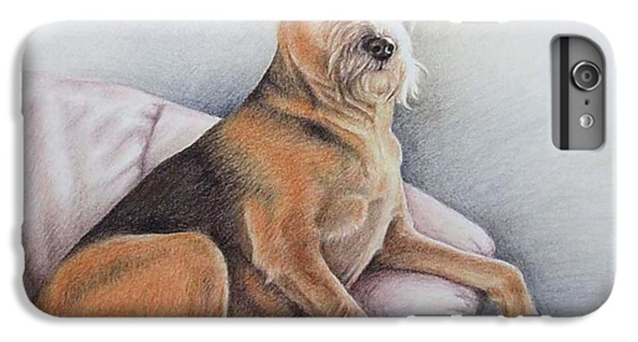 Dog IPhone 7 Plus Case featuring the pastel Lena by Nicole Zeug