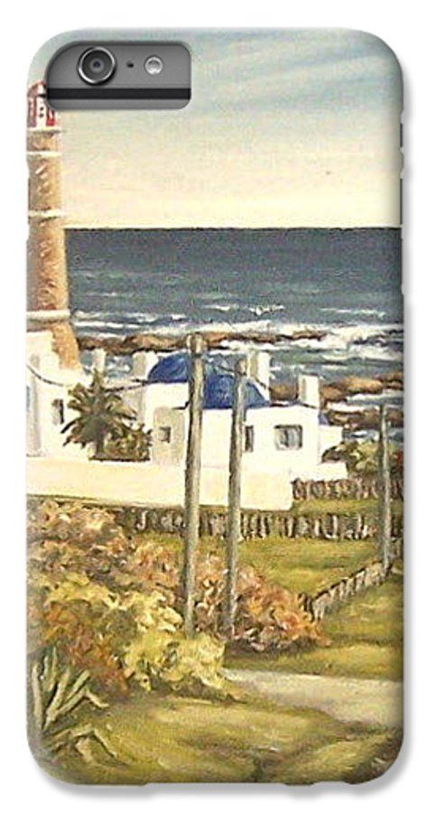 Lighthouse Seascape Sea Water Uruguay IPhone 7 Plus Case featuring the painting Lighthouse Uruguay by Natalia Tejera