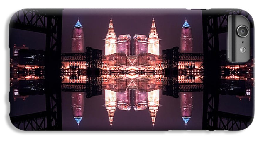 Cleveland IPhone 7 Plus Case featuring the photograph Lights Buildings And Bridges by Kenneth Krolikowski