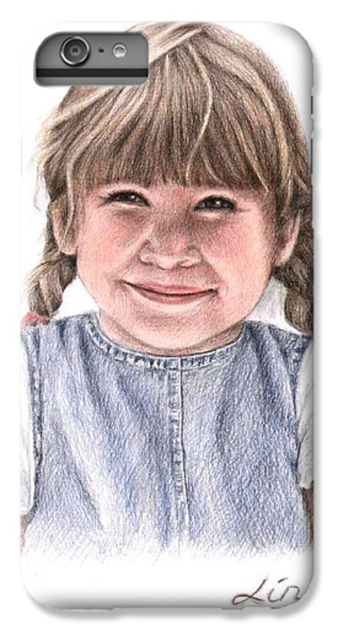 Girl IPhone 7 Plus Case featuring the drawing Little Girl by Nicole Zeug