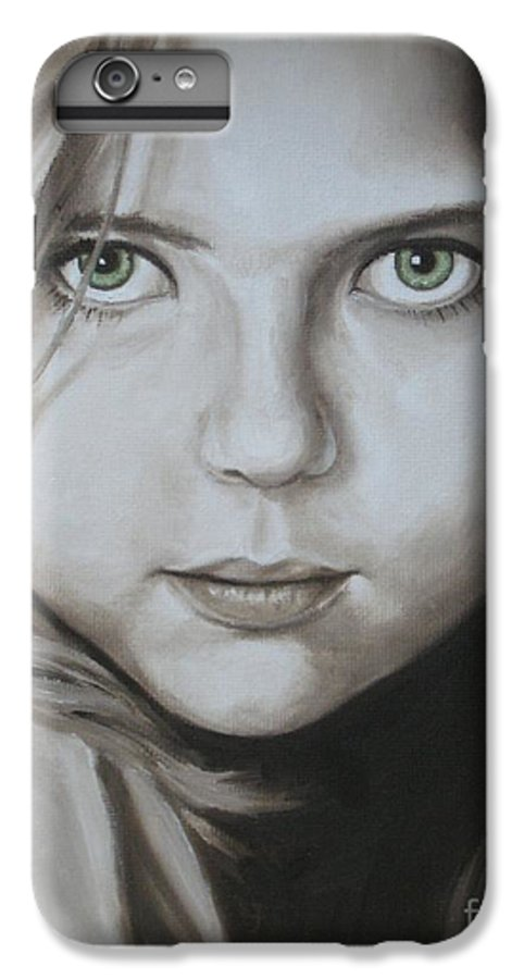 Portrait IPhone 7 Plus Case featuring the painting Little Girl With Green Eyes by Jindra Noewi