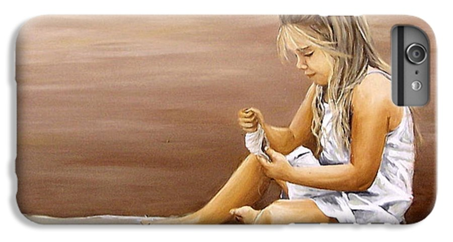 Children Girl Sea Shell Seascape Water Portrait Figurative IPhone 7 Plus Case featuring the painting Little Girl With Sea Shell by Natalia Tejera