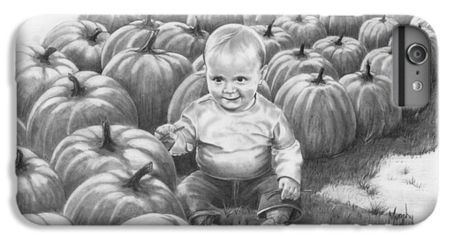 Charity IPhone 7 Plus Case featuring the drawing Little Pumpkin by Murphy Elliott