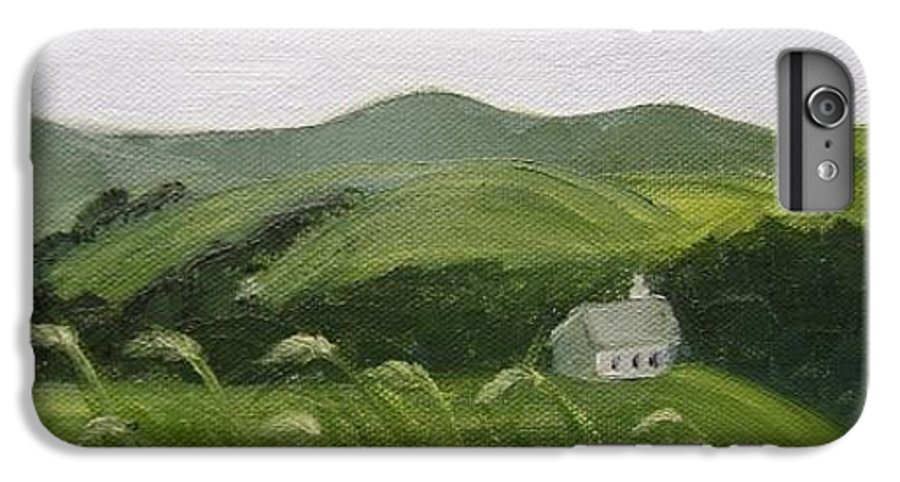 Landscape IPhone 7 Plus Case featuring the painting Little Schoolhouse On The Hill by Toni Berry