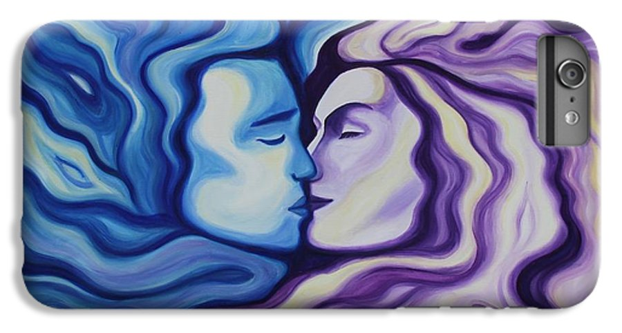 Acrylic IPhone 7 Plus Case featuring the painting Lovers In Eternal Kiss by Jindra Noewi