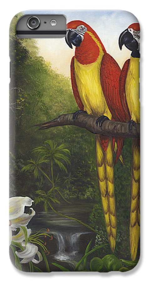 Landscape IPhone 7 Plus Case featuring the painting Macaws And Lillies by Anne Kushnick